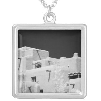 Pueblo style adobe Inn at Loretto, Santa Fe, New Silver Plated Necklace