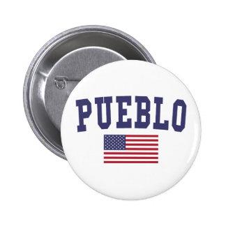 Pueblo US Flag 6 Cm Round Badge