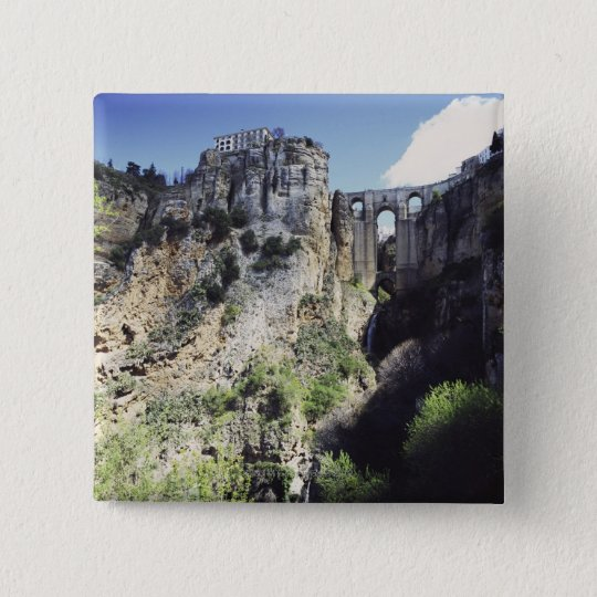 Puente Nuevo bridge in Spain 15 Cm Square Badge