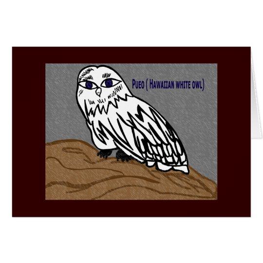 Pueo hawaiian white owl card