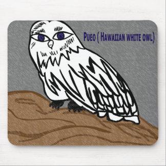 Pueo hawaiian white owl mouse mats