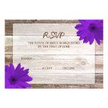 Pueple Daisy Barn Wood Wedding RSVP Response Card Custom Announcements
