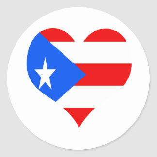 puerot rican heart classic round sticker