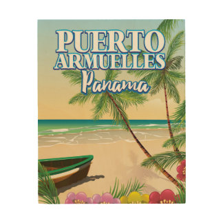 Puerto Armuelles Panama Beach travel poster