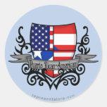 Puerto Rican-American Shield Flag Round Sticker
