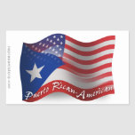 Puerto Rican-American Waving Flag Rectangular Sticker