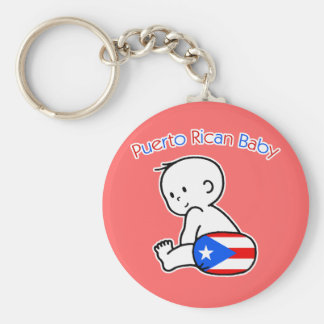 Puerto Rican Baby Basic Round Button Key Ring