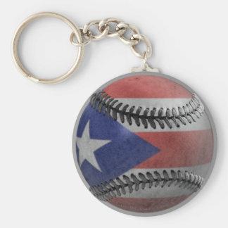 Puerto Rican Baseball Basic Round Button Key Ring