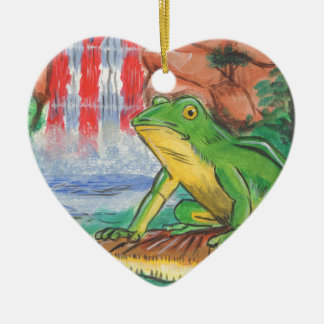 Puerto Rican Coqui Frog Water Fall Hand Painted Ni Christmas Ornament