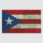 Puerto Rican Flag Aged Steel Effect Stickers