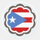 Puerto Rican Flag Flower Round Sticker