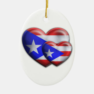 Puerto Rican Flag Hearts Christmas Ornament