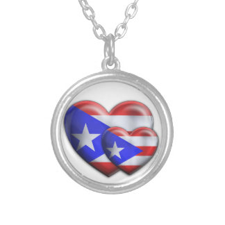 Puerto Rican Flag Hearts Silver Plated Necklace