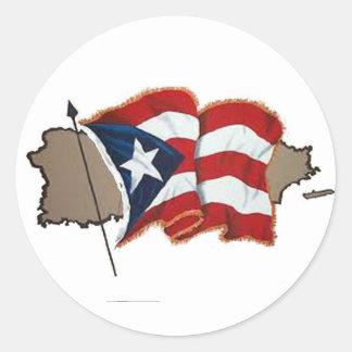 Puerto Rican Flag & Island Classic Round Sticker