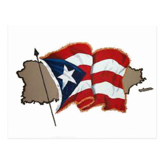 Puerto Rican Flag & Island Postcard