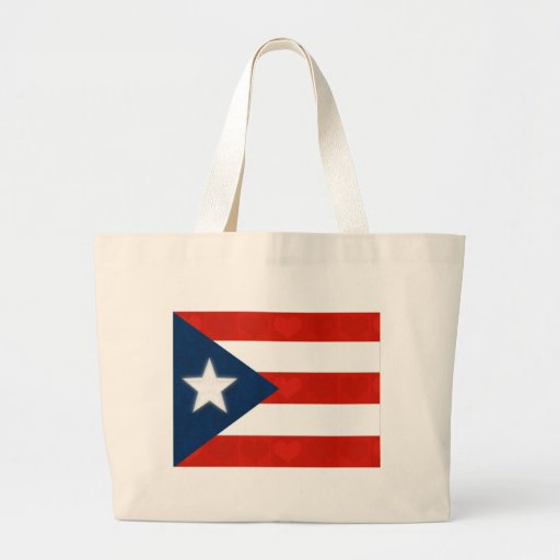 Puerto Rican Flag of Red Striped Hearts Jumbo Tote Bag
