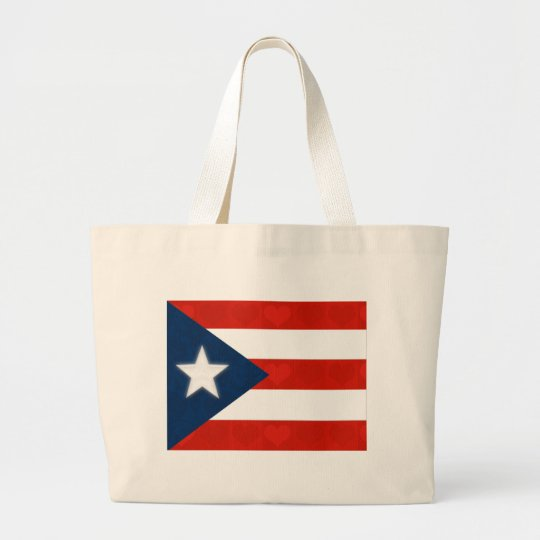 Puerto Rican Flag of Red Striped Hearts Large Tote Bag