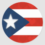Puerto Rican Flag of Red Striped Hearts Round Sticker