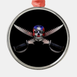 Puerto Rican Flag - Skull and Crossed Swords Christmas Tree Ornament