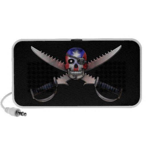 Puerto Rican Flag - Skull and Crossed Swords Mini Speaker