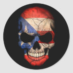 Puerto Rican Flag Skull on Black Classic Round Sticker
