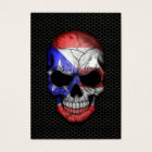 Puerto Rican Flag Skull on Steel Mesh Graphic Business Card