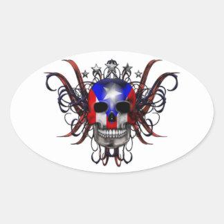 Puerto Rican Flag - Skull Oval Sticker
