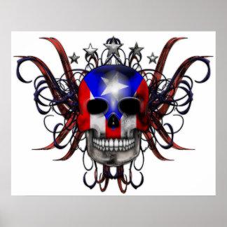 Puerto Rican Flag – Skull Poster