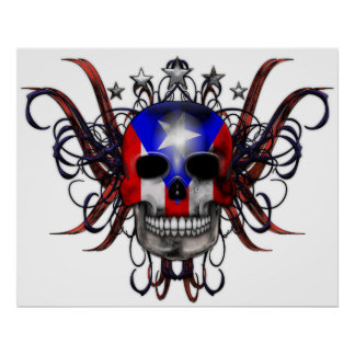 Puerto Rican Flag – Skull Posters