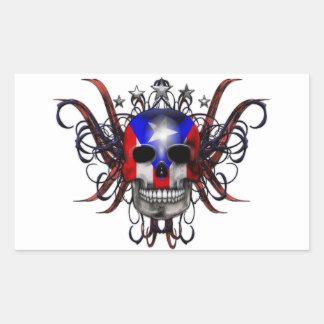 Puerto Rican Flag - Skull Rectangular Sticker