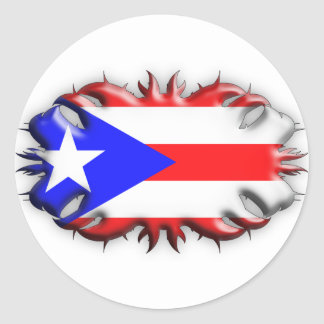 Puerto Rican Flag - Tribal Classic Round Sticker