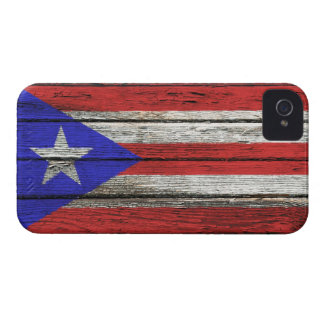 Puerto Rican Flag with Rough Wood Grain Effect Case-Mate iPhone 4 Cases