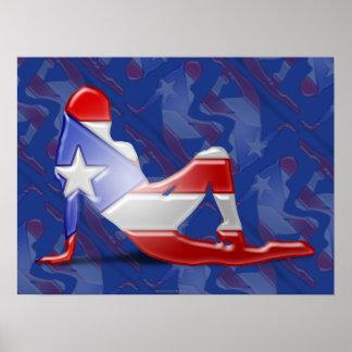 Puerto Rican Girl Silhouette Flag Poster