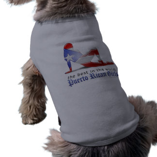Puerto Rican Girl Silhouette Flag Sleeveless Dog Shirt