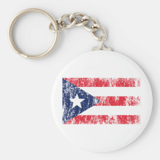 Puerto Rican Pride Flag Basic Round Button Key Ring