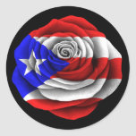 Puerto Rican Rose Flag on Black