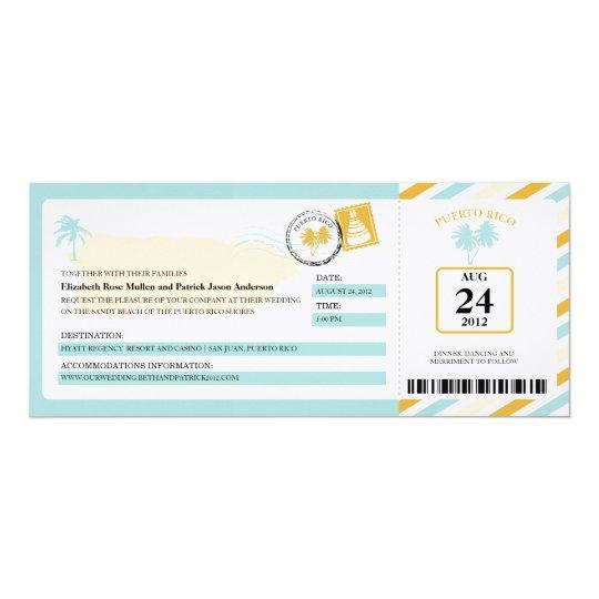 Puerto Rico Airmail Boarding Pass Wedding Card