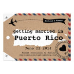 Puerto Rico Airmail Luggage Tag Save Date with Map