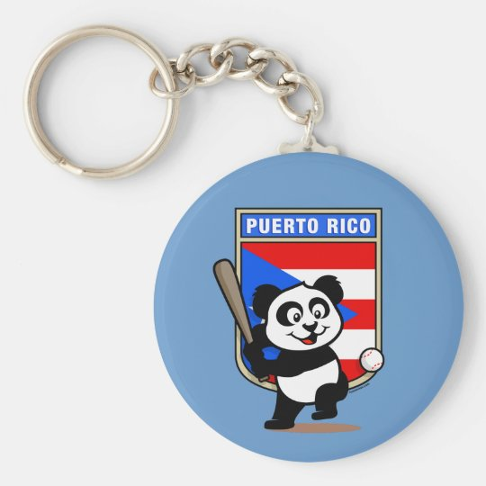 Puerto Rico Baseball Panda Basic Round Button Key Ring