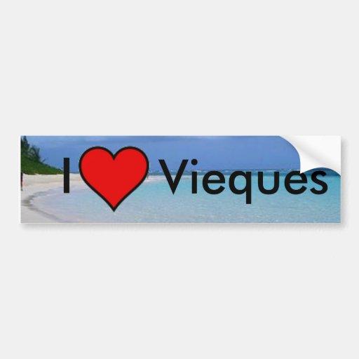 puerto rico beach, heart, I, Vieques - Customized Bumper Sticker
