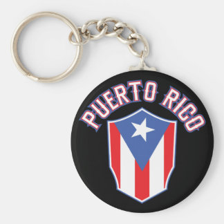 Puerto Rico Big and Bold Basic Round Button Key Ring