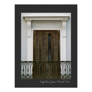 Puerto Rico Blue Spanish Architecture Windows Poster