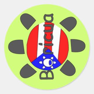 Puerto Rico Boricua Symbol Classic Round Sticker