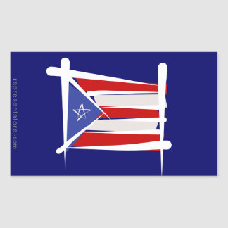 Puerto Rico Brush Flag Rectangular Sticker
