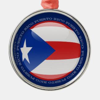 Puerto Rico Bubble Flag Silver-Colored Round Decoration