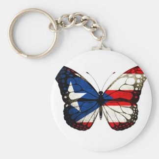 Puerto Rico Butterfly Basic Round Button Key Ring