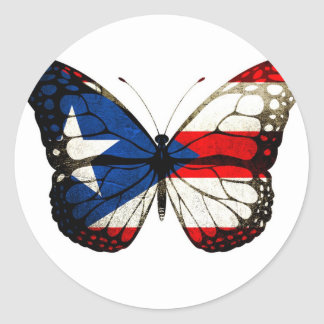 Puerto Rico Butterfly Classic Round Sticker
