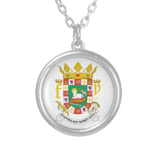 Puerto Rico Coat Of Arms Silver Plated Necklace