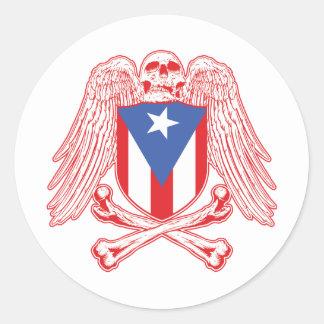 Puerto Rico Crossbones Round Sticker