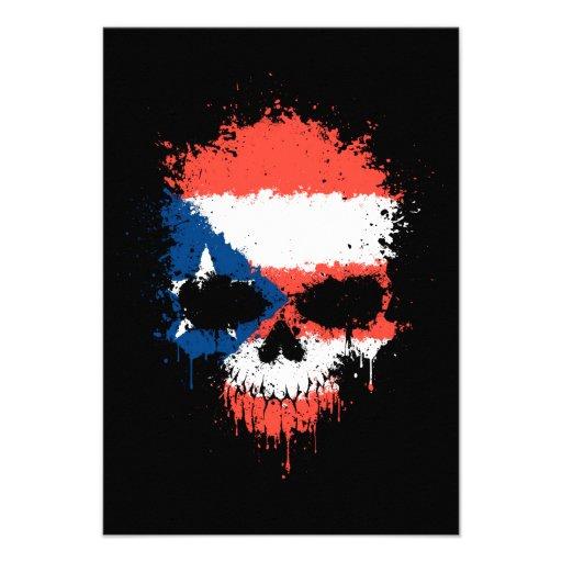 Puerto Rico Dripping Splatter Skull Invitation